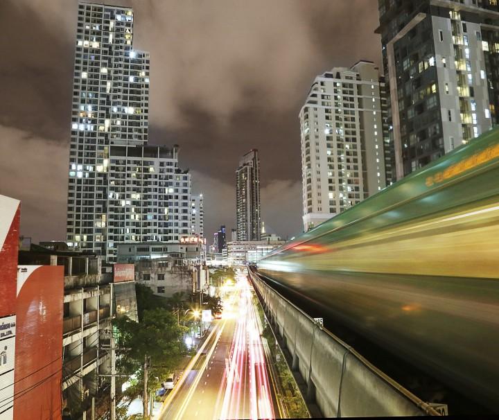 Bangkok, Skytrain, Thailand, Nacht, Verkehr, Asien