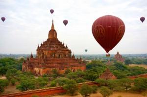 Myanmar, Bagan, Ballonfahrt, Ballonflug, Pagoden, Balloons over Bagan