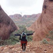 Australien, Outback, Kata Tjuta, Olgas, Büsche, Sicht vom Berg, Lilli