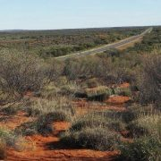 Australien, Outback, Büsche, Straße, roter Sand